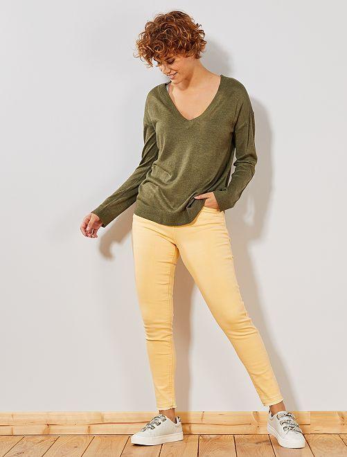 Pantalón vaquero skinny                                 amarillo oro Mujer talla 34 a 48