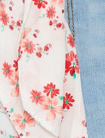 87abd3584 Pantalón vaquero tobillero + cinturón de flores Chica - BEIGE ...