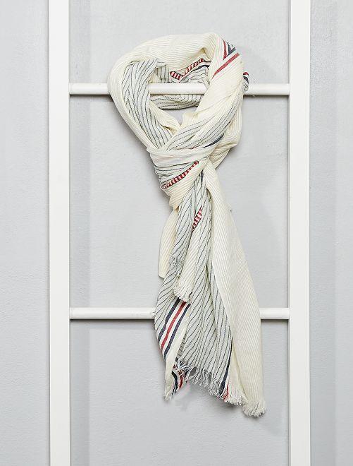 Pañuelo a rayas de algodón tejido                                         blanco nieve