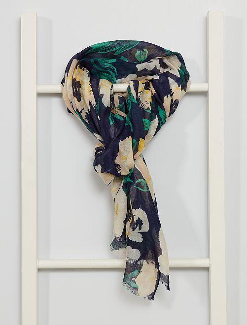 Pañuelo con estampado de flores                             multicolor