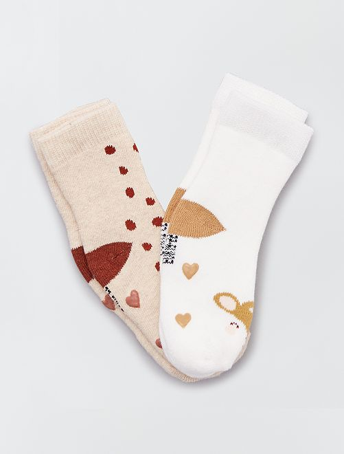 Par de calcetines antideslizantes 'cierva'                                                                                                                 MARRON