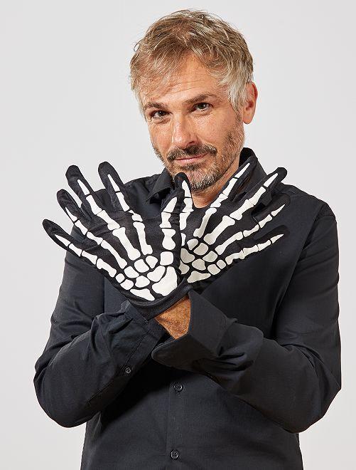 Par de guantes de esqueleto                             negro/blanco