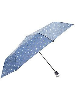 Mujer Paraguas plegable azul marino con estampado de 'flores'