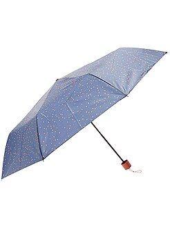 Mujer Paraguas plegable azul marino con estampado de 'lunares'