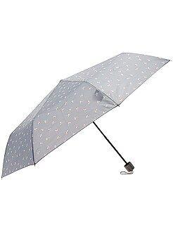 Mujer Paraguas plegable gris con estampado de 'flores'
