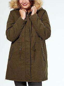 Mujer Parka abrigada con capucha y aplique de pelo desmontable