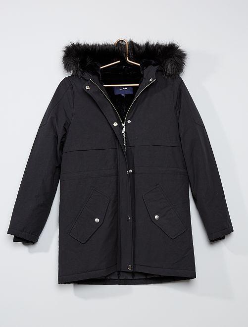 Parka hidrófuga con capucha pelo sintético                                                                 negro