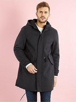 Hombre Parka larga con capucha de efecto lana
