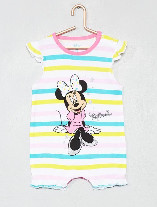 Pelele a rayas 'Minnie' de algodón puro                                         rosa/amarillo/verde Bebé niña