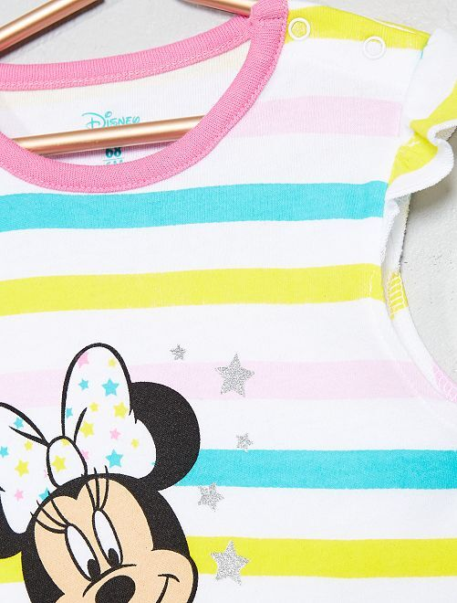8c31df5d9 Pelele a rayas  Minnie  de algodón puro Bebé niña - rosa amarillo ...