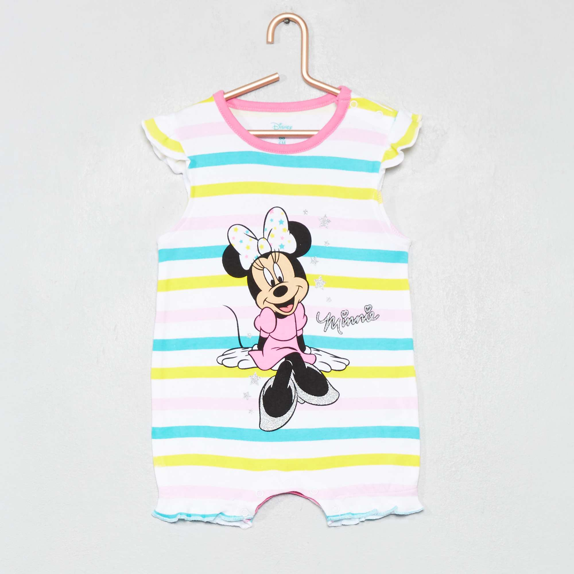 6e42666a6 Pelele a rayas  Minnie  de algodón puro rosa amarillo verde Bebé niña.  Loading zoom. Haz clic en la imagen para agrandar. zoom