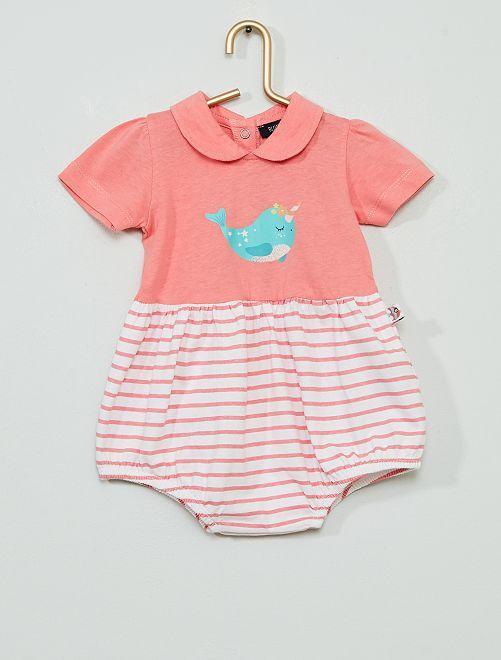 Pelele corto 'narval'                             rosa/blanco