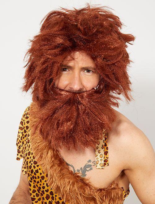Peluca y barba de hombre de las cavernas                             marrón
