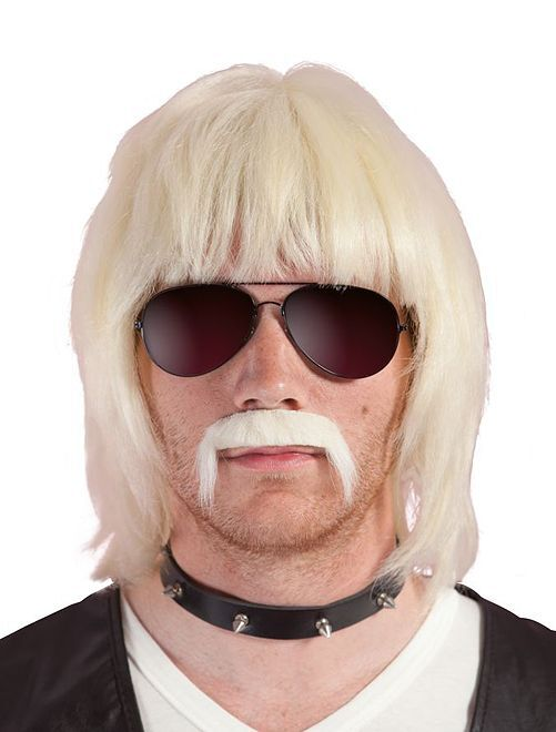 Peluca y bigote Bobby Blond                             rubio
