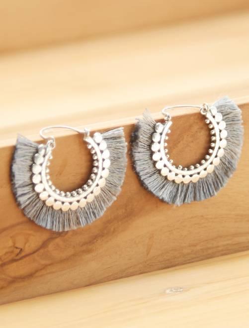 Pendientes de aro con borlas                                         gris