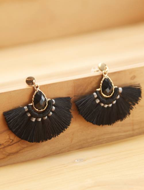 Pendientes de aro                             negro
