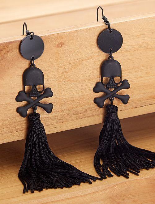 Pendientes de calavera                             negro