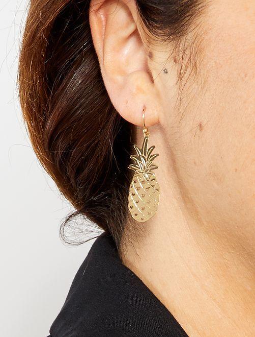 Pendientes de 'piñas'                             dorado Mujer talla 34 a 48