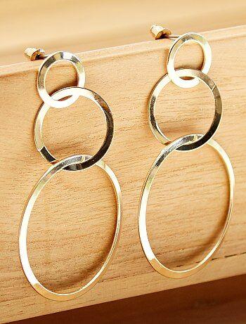 392d20373f13 Pendientes largos con 3 círculos - Kiabi