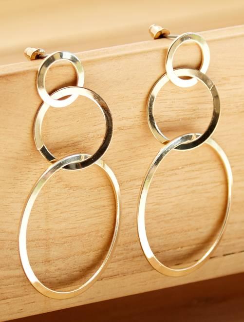 Pendientes largos con 3 círculos                             dorado Mujer talla 34 a 48