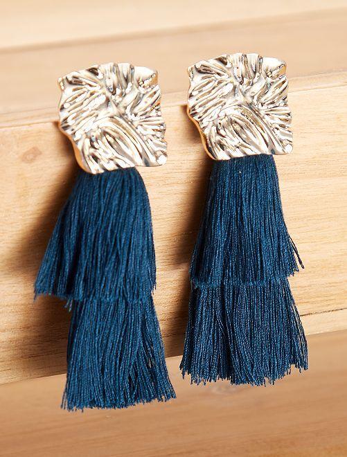 Pendientes largos con flecos                                         azul pato Mujer talla 34 a 48