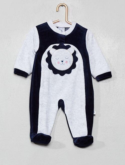 Pijama 'Absorba' terciopelo motivo 'león'                             azul/gris