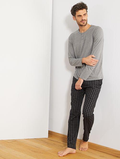 Pijama bicolor manga larga                             GRIS