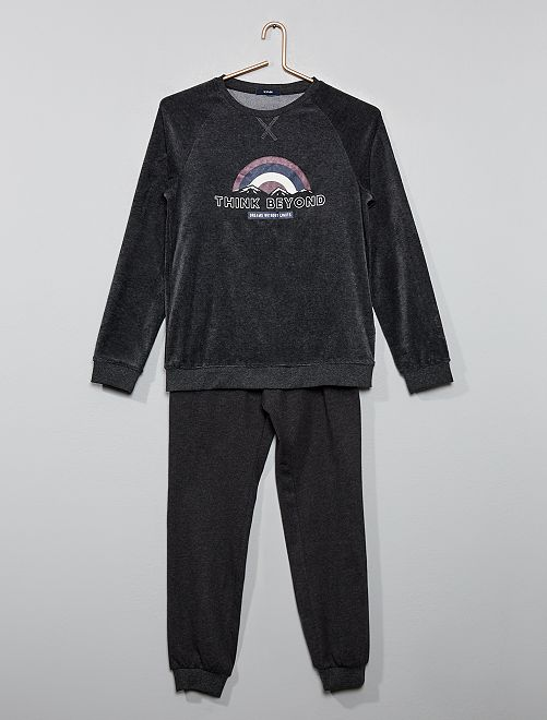 Pijama bimaterial                                         GRIS