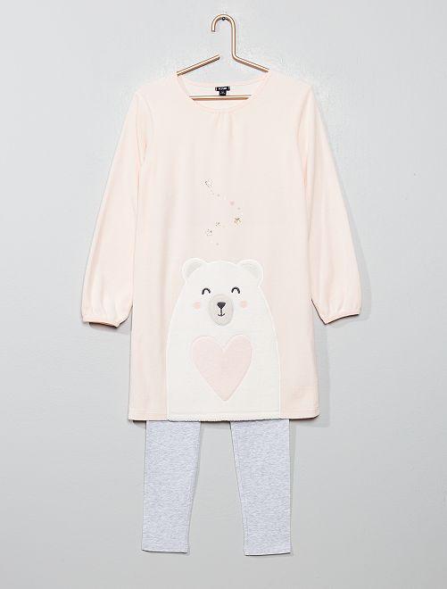 Pijama bimaterial 'oso'                                                     ROSA Chica