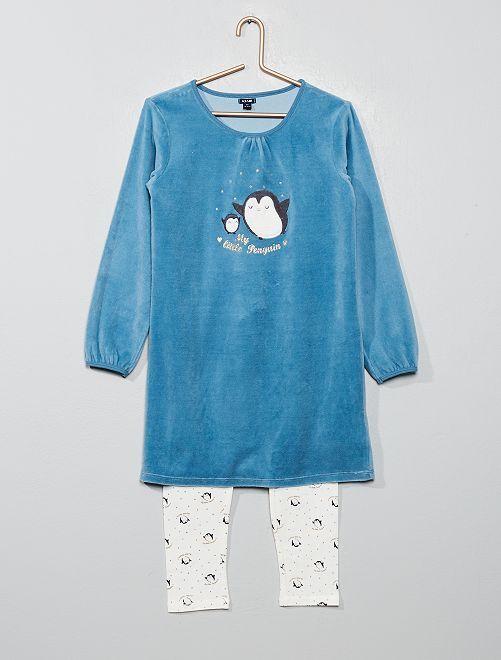 Pijama bimaterial 'pingüino'                                         BLANCO