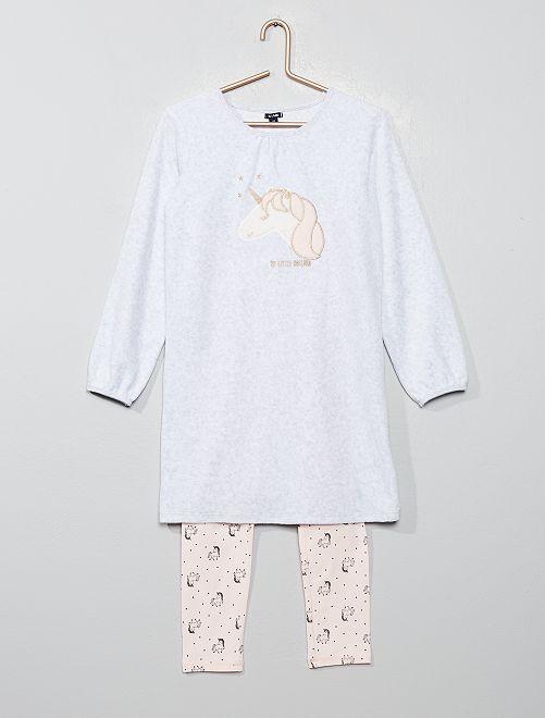 Pijama bimaterial 'unicornio'                                                     ROSA