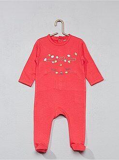 Niña 0-36 meses - Pijama bordado con pies - Kiabi