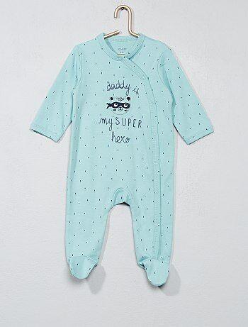Pijama bordado de algodón puro - Kiabi