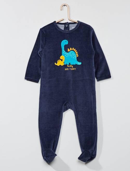 Pijama bordado de terciopelo                                         AZUL Bebé niño