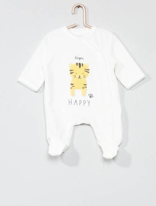 Pijama bordado de terciopelo                                                                             BLANCO Bebé niño