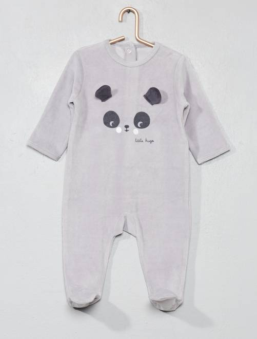 Pijama bordado de terciopelo                                                                                         GRIS Bebé niño