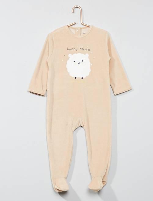 Pijama bordado de terciopelo                                                                                         KAKI Bebé niño