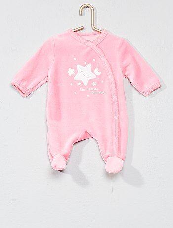 Pijama bordado de terciopelo - Kiabi