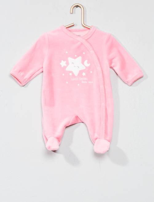 Pijama bordado de terciopelo                                                                             ROSA Bebé niña