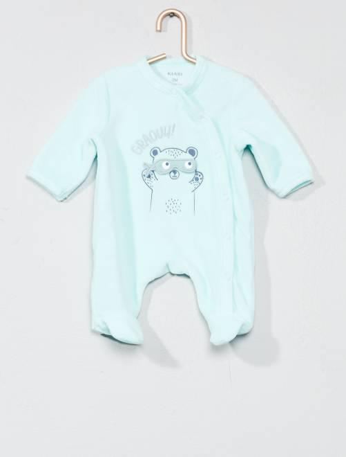 Pijama bordado de terciopelo                                                                 VERDE Bebé niño