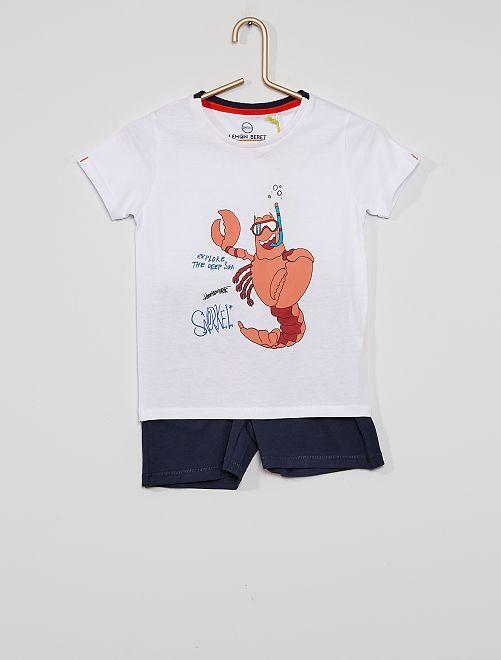 Pijama con camiseta + pantalón corto                             blanco