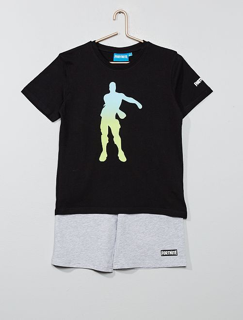 Pijama con camiseta + pantalón corto 'Fortnite'                             NEGRO