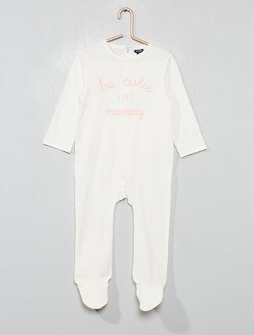 Pijama con 'mensaje' estampado                                         BLANCO Bebé niña