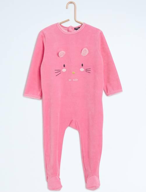 Pijama con pies y estampado animal                                         rosa Bebé niña
