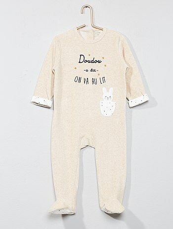 Pijama 'conejo' de terciopelo - Kiabi