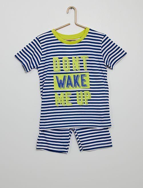 Pijama corto a rayas 'Don't wake me up'                             azul/blanco