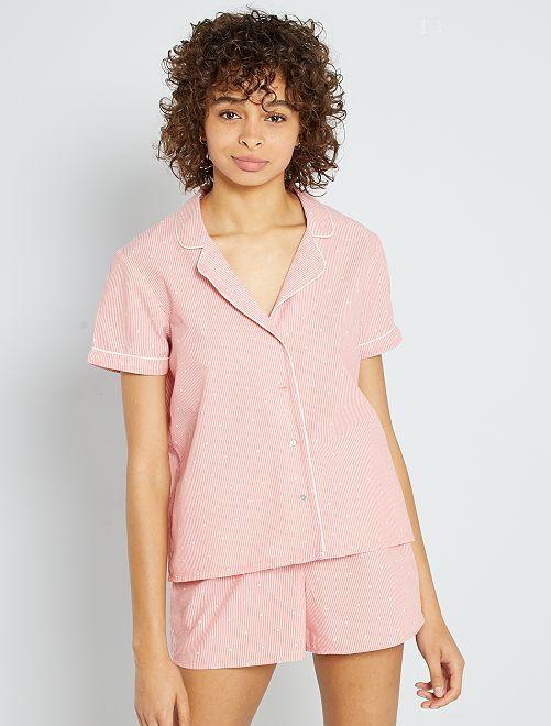 Pijama corto a rayas                             ROSA