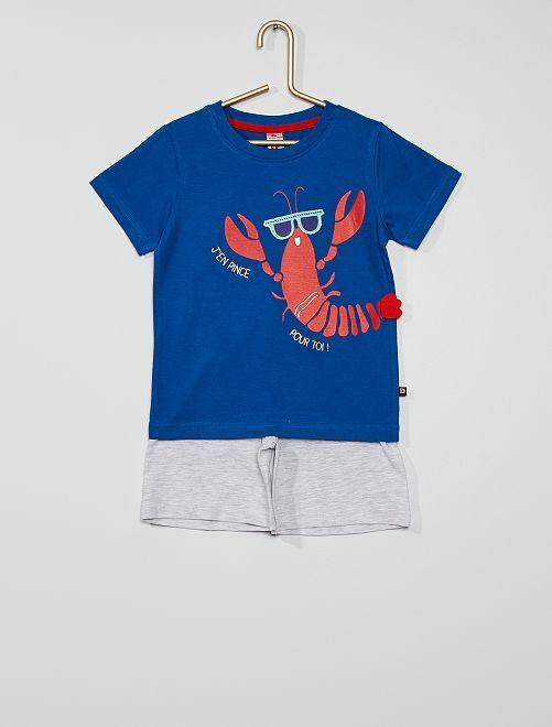 Pijama corto                             azul/gris