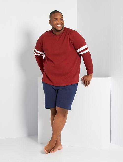 Pijama corto bicolor                             ROJO
