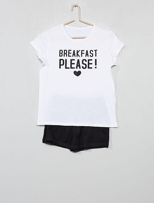 Pijama corto 'breakfast'                             NEGRO